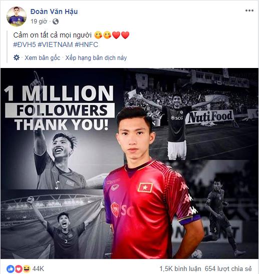 Facebook cầu thủ Đoàn Văn Hậu chính thức cán mốc triệu like sau 3 năm tham gia MXH - Ảnh 2.