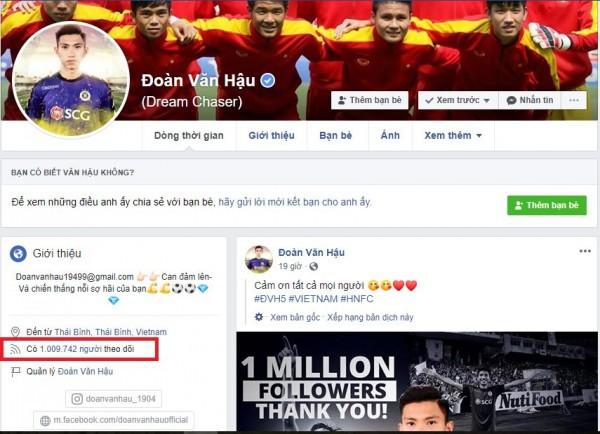 Facebook cầu thủ Đoàn Văn Hậu chính thức cán mốc triệu like sau 3 năm tham gia MXH - Ảnh 3.