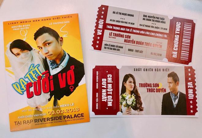 Đạo diễn 9X làm thiệp cưới xịn như poster và vé mời xem phim - Ảnh 3.