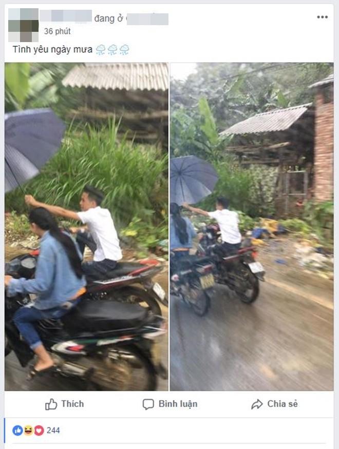 Liều mình che ô cho bạn gái ngày mưa, đã không được khen ga-lăng hay lãng mạn, chàng trai còn bị mắng té tát - Ảnh 1.