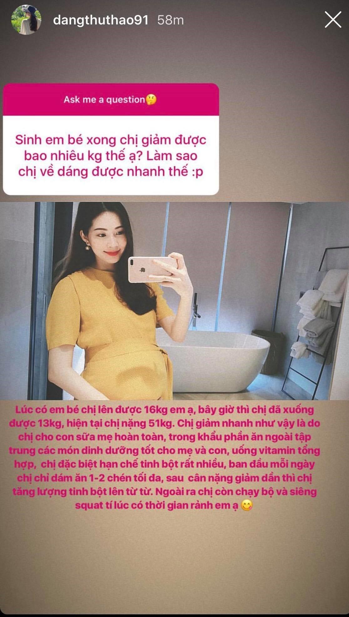 1 tháng sau sinh, hoa hậu Thu Thảo giảm hẳn 13 kg và lần đầu chia sẻ bí quyết lấy lại vóc dáng thần tốc  - Ảnh 4.
