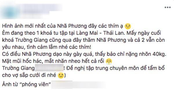 Bỏ vai Hậu duệ mặt trời, Nhã Phương sang Thái Lan tu, rò rỉ thông tin chưa chia tay Trường Giang - Ảnh 1.