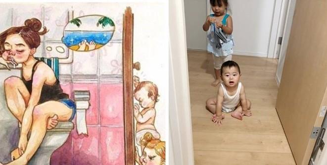 Tái hiện sáng tạo bộ tranh Cuộc sống của mẹ kể từ khi có con, mẹ trẻ khiến cư dân mạng ngưỡng mộ - Ảnh 6.