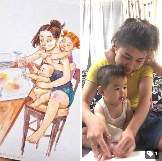 Tái hiện sáng tạo bộ tranh Cuộc sống của mẹ kể từ khi có con, mẹ trẻ khiến cư dân mạng ngưỡng mộ - Ảnh 7.