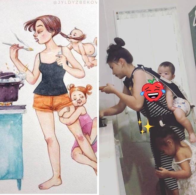 Tái hiện sáng tạo bộ tranh Cuộc sống của mẹ kể từ khi có con, mẹ trẻ khiến cư dân mạng ngưỡng mộ - Ảnh 8.