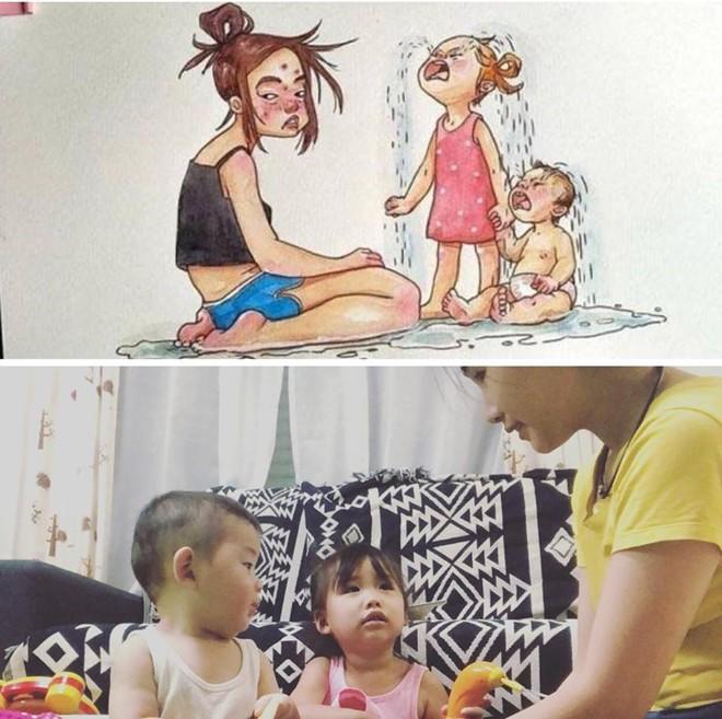 Tái hiện sáng tạo bộ tranh Cuộc sống của mẹ kể từ khi có con, mẹ trẻ khiến cư dân mạng ngưỡng mộ - Ảnh 9.