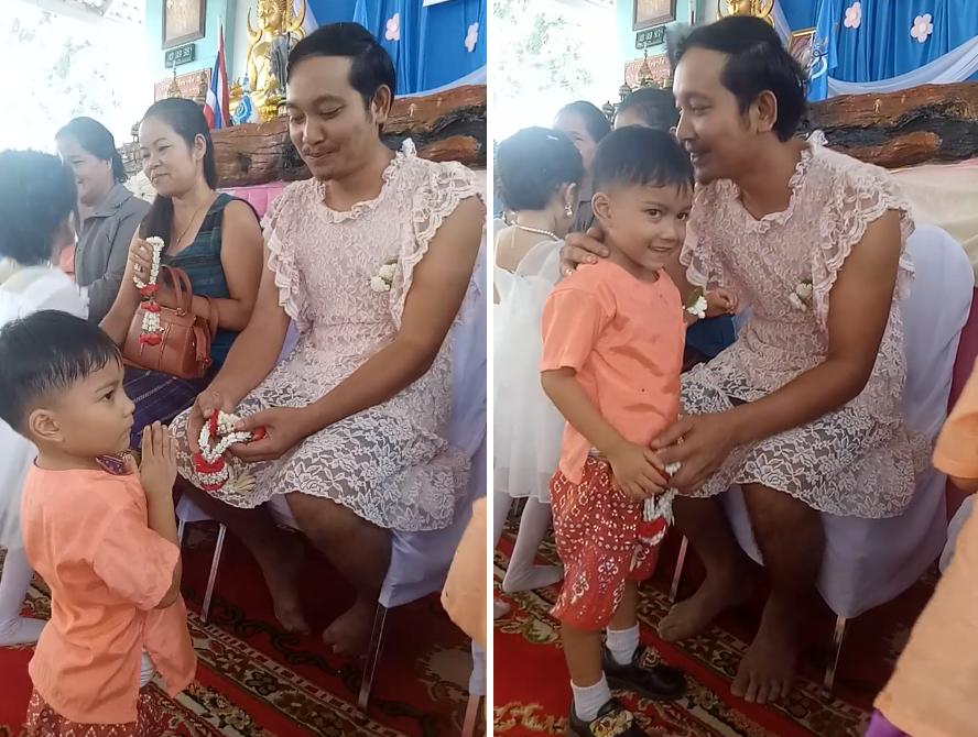 Ông bố mặc váy ren, cài nơ tóc, cười tít khi đến trường con trai, dân mạng cảm động rơi nước mắt khi biết nguyên nhân thực sự phía sau - Ảnh 2.