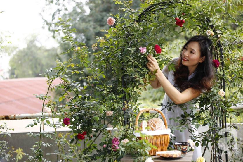 Khu vườn trên sân thượng vỏn vẹn 25m² nhưng có đủ thứ từ rau sạch đến hoa đẹp của bà mẹ trẻ ở Hà Nội - Ảnh 1.