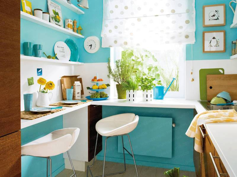 2 căn bếp nhỏ hiện đại và đẹp bất ngờ với tone màu xanh nhạt  - Ảnh 3.