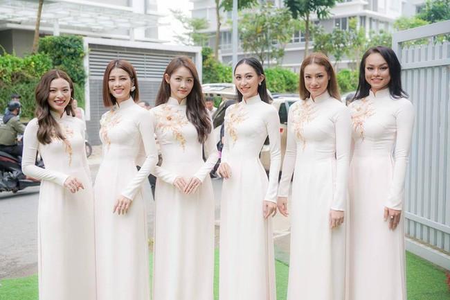 Cô dâu thường chọn màu áo đỏ, riêng Lan Khuê lộng lẫy diện áo dài trắng thêu cánh phượng trong lễ ăn hỏi  - Ảnh 6.