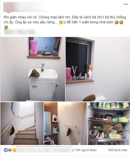 Giận chồng, vợ thả sầu riêng treo khắp nhà để đánh bom thính giác - Ảnh 1.