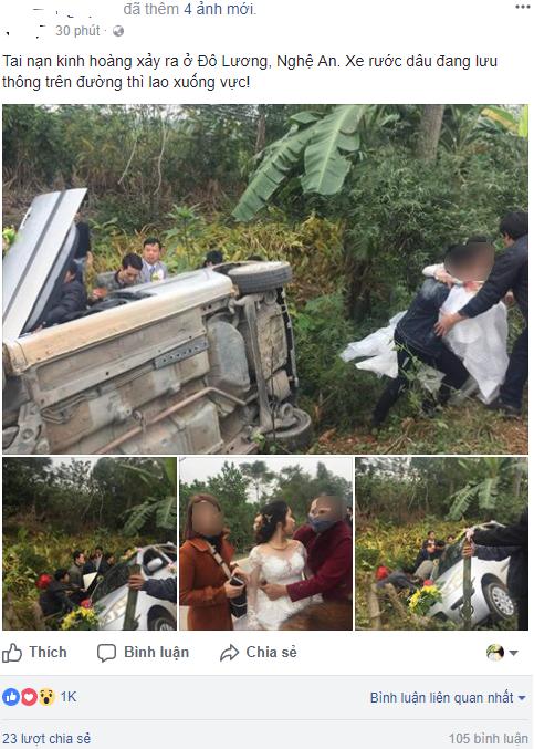 Nghệ An: Xe hoa bất ngờ lao xuống vệ đường, cô dâu chú rể may mắn thoát nạn - Ảnh 1.