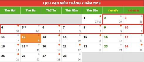 Lịch nghỉ Tết Nguyên đán Kỷ Hợi 2019 chính thức - Ảnh 1.