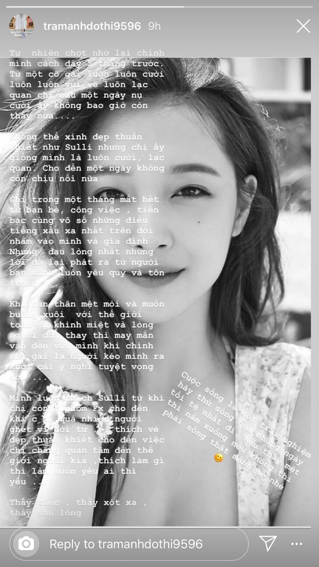 """Từ chuyện Sulli tự tử, hot girl Trâm Anh lần đầu trải lòng sau scandal lộ clip nhạy cảm:  """"Chỉ sau một ngày nụ cười ấy không bao giờ còn nữa"""" - Ảnh 2."""