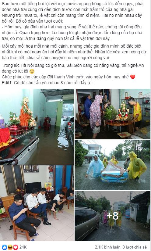 """Mưa lớn kèm theo ngập lụt, chú rể cùng nhà trai """"bơi"""" quãng đường 4km sang nhà gái đưa sính lễ - Ảnh 1."""