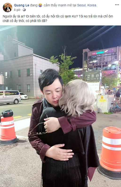 Sau bức ảnh hôn má vợ cũ Hồ Quang Hiếu, Quang Lê úp mở chuyện hẹn hò bằng hành động thân mật này - Ảnh 1.