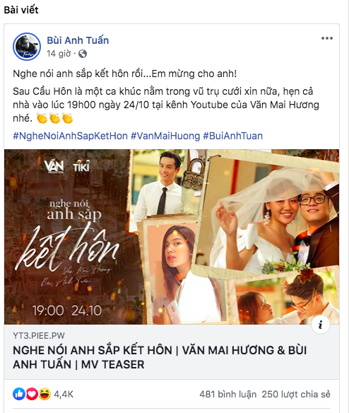 Phản ứng của Bùi Anh Tuấn khi Văn Mai Hương tung trọn bộ ảnh cưới, hé lộ lý do kết hôn khiến ai cũng sốc  - Ảnh 1.