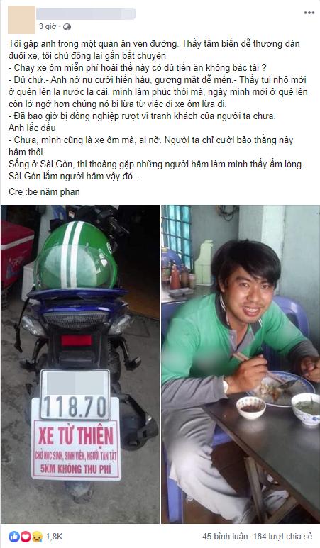 """Cư dân mạng xúc động với chuyện anh xe ôm Sài Gòn bị chửi là """"hâm"""" khi chạy xe miễn phí cho sinh viên, người tàn tật - Ảnh 1."""