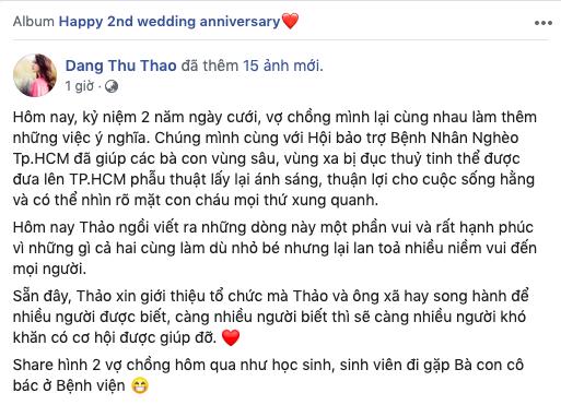 """Không hổ danh là """"thần tiên tỷ tỷ"""", HH Đặng Thu Thảo cùng ông xã gây xúc động khi thực hiện hành động ý nghĩa nhân kỷ niệm ngày cưới  - Ảnh 1."""