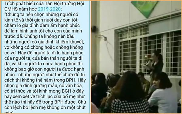 Hội trưởng hội phụ huynh với lời phát biểu sốc kỳ thị cha mẹ đơn thân khiến cha mẹ học sinh phẫn nộ - Ảnh 1.