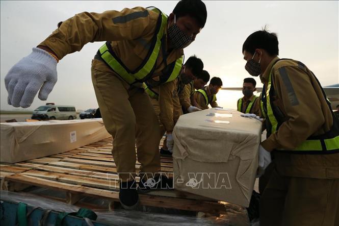 Vụ 39 người chết: Cận cảnh đưa thi thể các nạn nhân về tới Nội Bài - Ảnh 1.