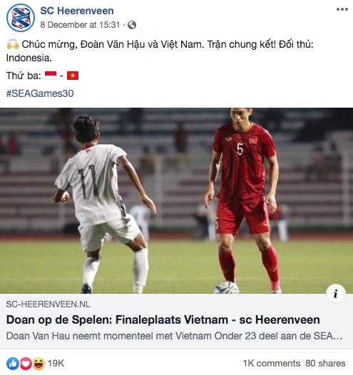 """Góc tự hào: CLB của Đoàn Văn Hậu ở Hà Lan gửi lời chúc mừng U22 Việt Nam giành chiến thắng tại SEA Games 30 bằng tiếng Việt: """"Vô địch! Chúc mừng"""" - Ảnh 2."""