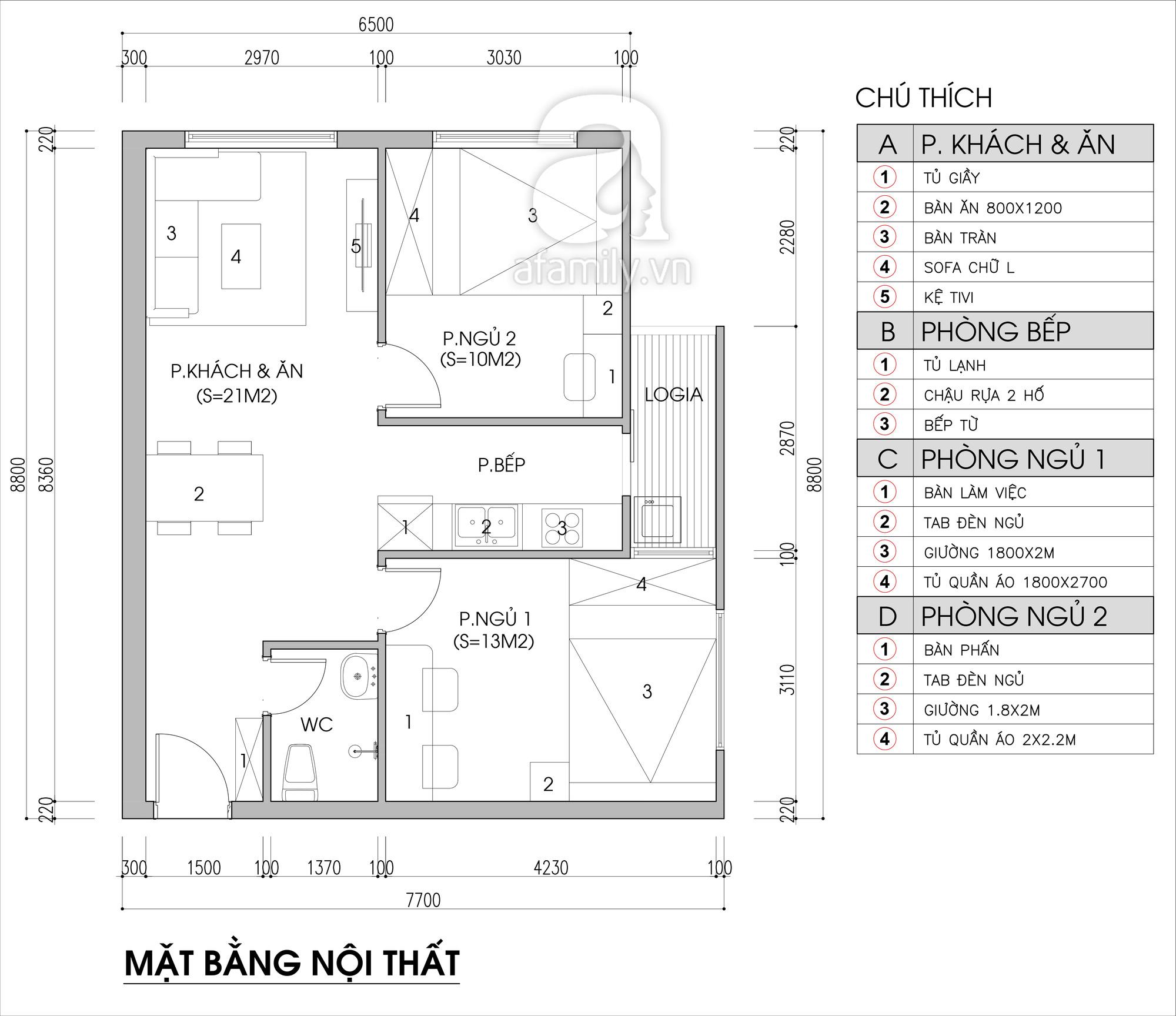 Tư vấn thiết kế căn hộ chung cư diện tích 56m2 với tổng chi phí 100 triệu đồng - Ảnh 2.