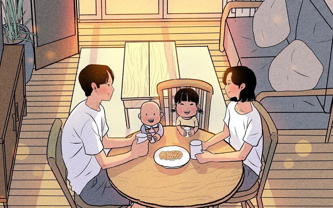 Bộ tranh nhẹ nhàng sâu lắng về gia đình có 2 con nhỏ: Cuộc sống chỉ cần bình yên như này là đủ!