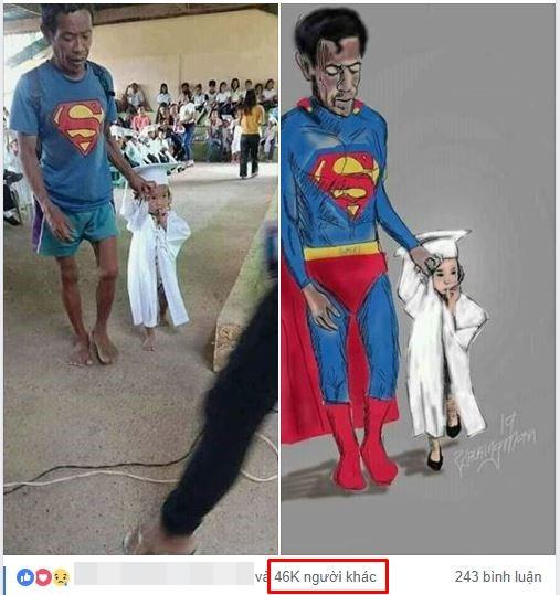 Hình ảnh ông bố Superman đi chân đất đến dự lễ tốt nghiệp mầm non của con gái khiến nhiều người cay mắt - Ảnh 3.