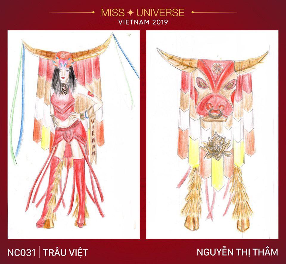 Hoàng Thùy không chỉ có trang phục Bàn Thờ, còn cả thiết kế chuồn chuồn, trâu hay cà phê phin để cân nhắc - Ảnh 4.