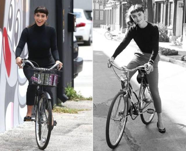 Cô Kim Kardashian bắt chước huyền thoại Audrey Hepburn đạp xe với vòng 3 sai sai và cái kết bất ngờ - Ảnh 1.