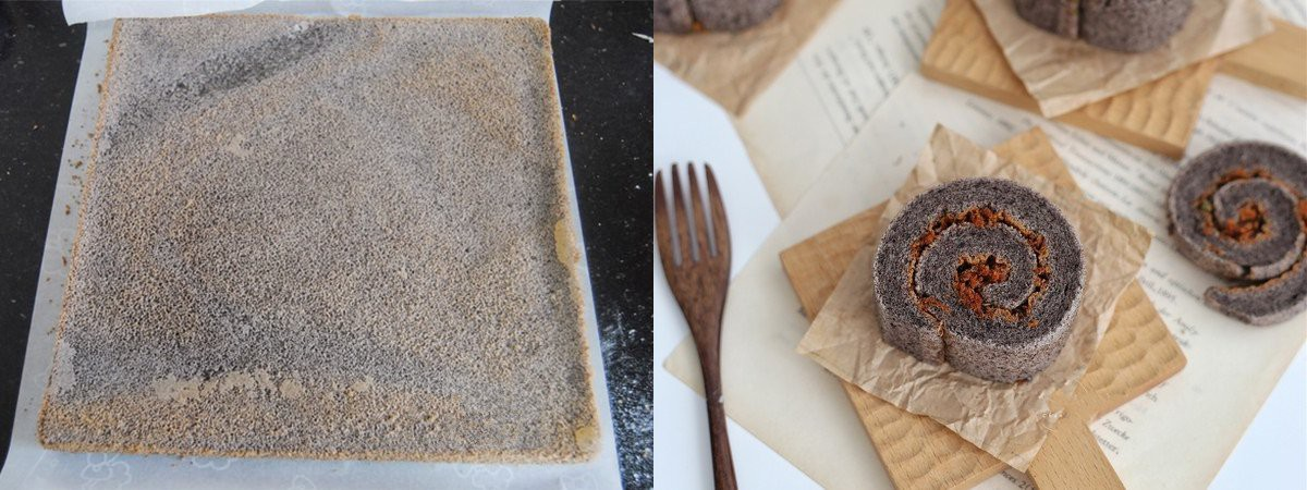 Bánh bông lan nếp cẩm cuộn chà bông - Ảnh 5.