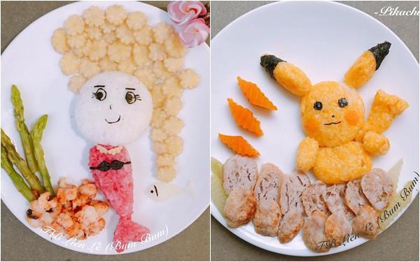 """Con tập ăn cơm, mẹ đảm Sài Gòn trang trí món ăn đầy màu sắc giúp con ăn """"sạch sành sanh"""""""
