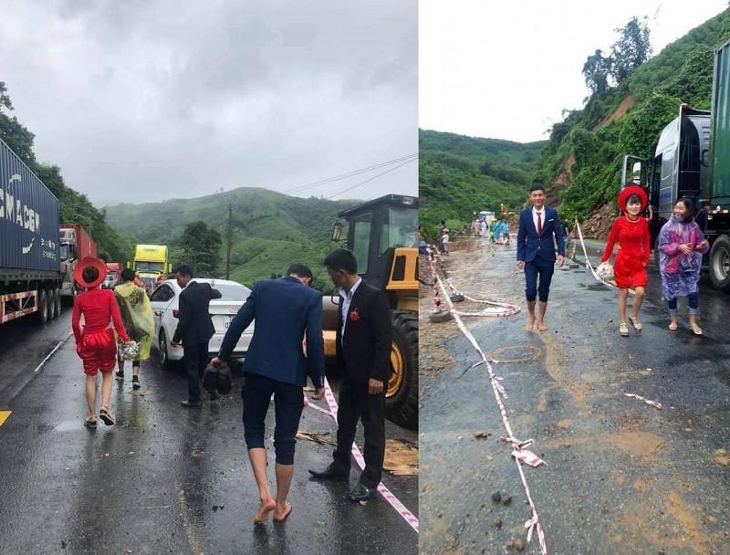 Đám cưới giữa mưa lũ, chú rể Quảng Trị cõng cô dâu về nhà - Ảnh 1.