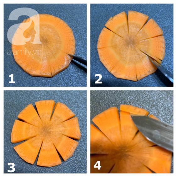 Cách tỉa cà rốt thành hoa tuyết cực xinh trang trí đĩa ăn mùa Giáng sinh - Ảnh 3.