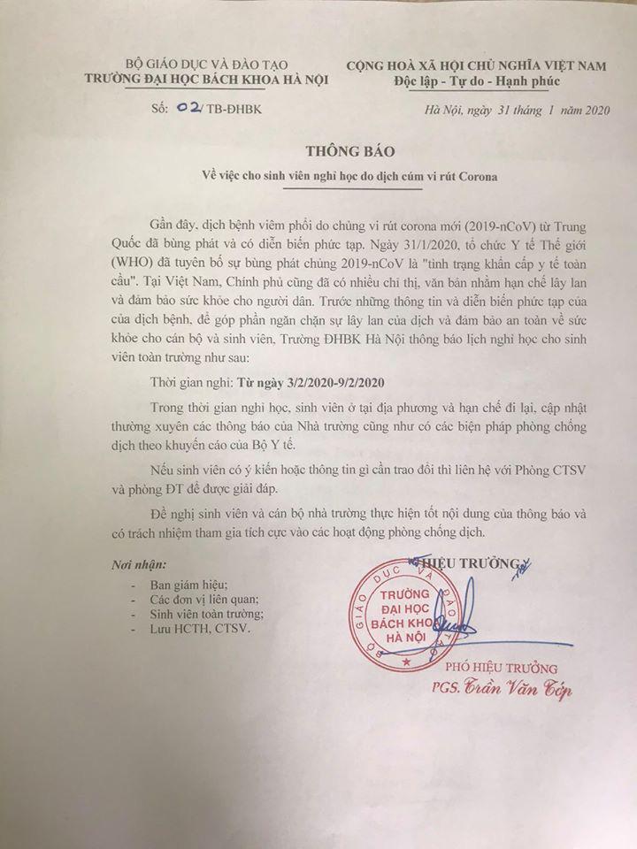 Đề phòng virus Corona lây lan diện rộng, trường Đại học ở Hà Nội cho sinh viên nghỉ học 1 tuần để tránh dịch - Ảnh 4.