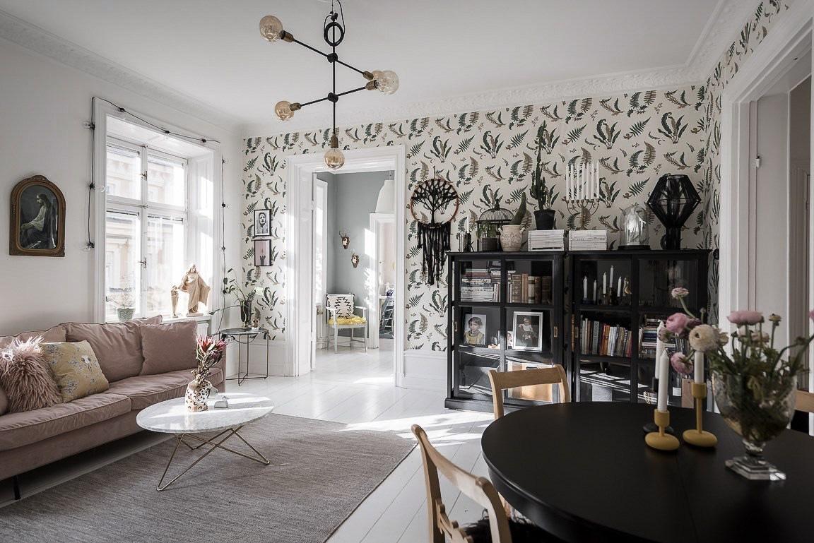 Ngôi nhà rộng 73m2 ở Nga sáng bừng với tông màu hồng phấn ngọt ngào đan xen nét cổ điển đặc trưng - Ảnh 8.