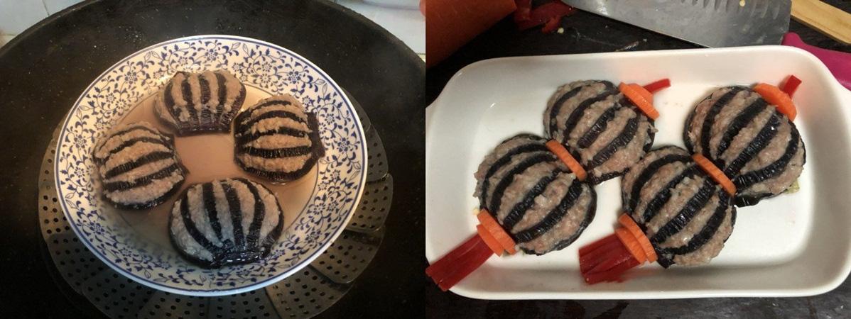 Món cà tím kẹp thịt hấp mềm ngọt đẹp mắt - Ảnh 3.