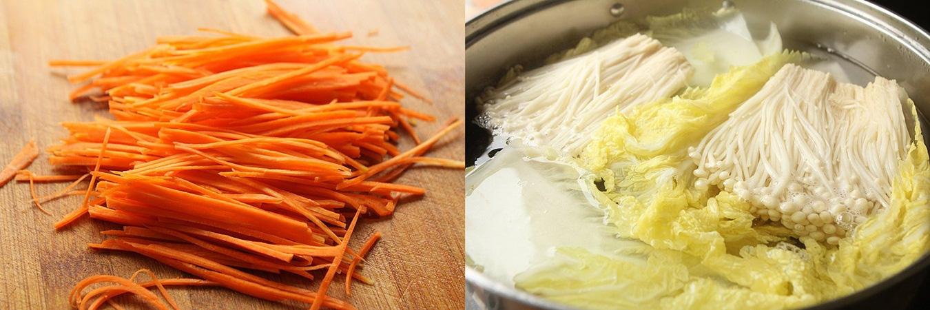 Rau cải cuộn nấm xốt dầu hào - Ảnh 1.