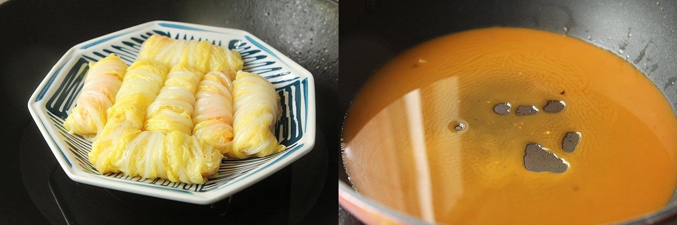 Rau cải cuộn nấm xốt dầu hào - Ảnh 3.