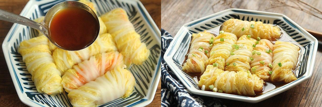 Rau cải cuộn nấm xốt dầu hào - Ảnh 4.