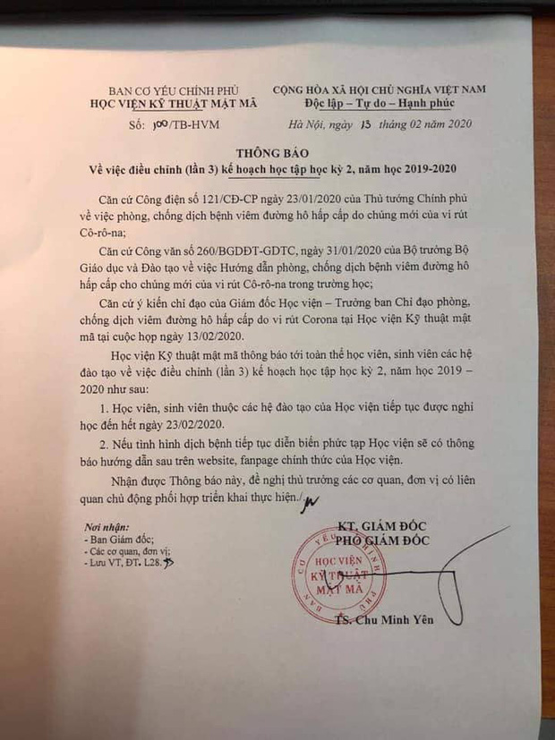 MỚI: Thêm 2 trường đại học ở Hà Nội thông báo tiếp tục cho sinh viên nghỉ học đợt 3, đến hết ngày 24/2 - Ảnh 5.
