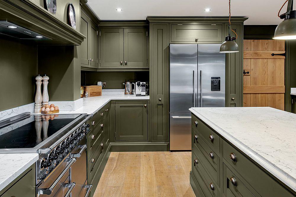 Những tông xanh tối màu tuyệt đẹp cho căn bếp hiện đại: sạch, nổi bật và sang trọng khi kết hợp khéo léo với tông trắng và ánh sáng đèn trang trí - Ảnh 6.