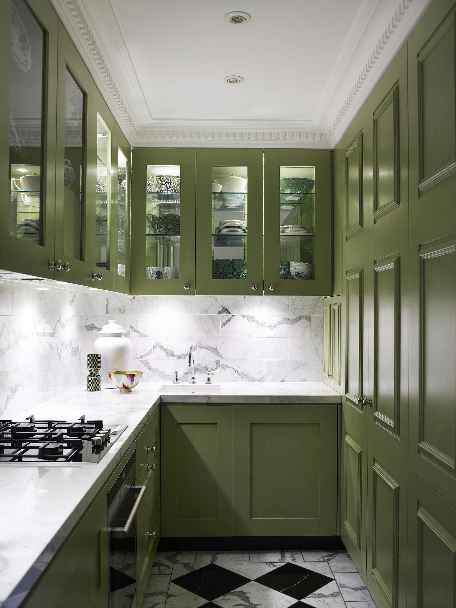 Những tông xanh tối màu tuyệt đẹp cho căn bếp hiện đại: sạch, nổi bật và sang trọng khi kết hợp khéo léo với tông trắng và ánh sáng đèn trang trí - Ảnh 8.
