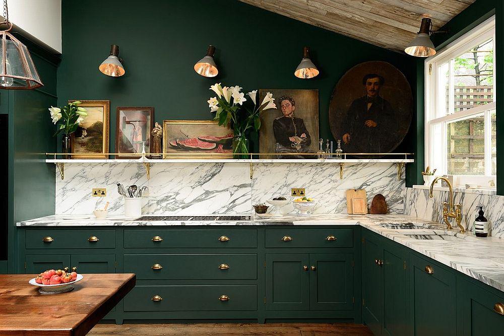 Những tông xanh tối màu tuyệt đẹp cho căn bếp hiện đại: sạch, nổi bật và sang trọng khi kết hợp khéo léo với tông trắng và ánh sáng đèn trang trí - Ảnh 1.