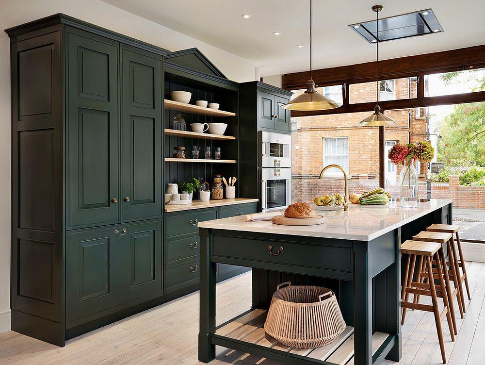 Những tông xanh tối màu tuyệt đẹp cho căn bếp hiện đại: sạch, nổi bật và sang trọng khi kết hợp khéo léo với tông trắng và ánh sáng đèn trang trí - Ảnh 5.