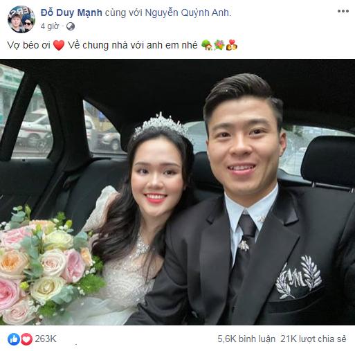 """Vừa đón dâu xong chú rể Duy Mạnh đã gây """"bão like"""" với 3 từ dành cho cô dâu nhưng lại thêm một nhân vật khác gây chú ý hơn cả chỉ vì dòng bình luận - Ảnh 2."""