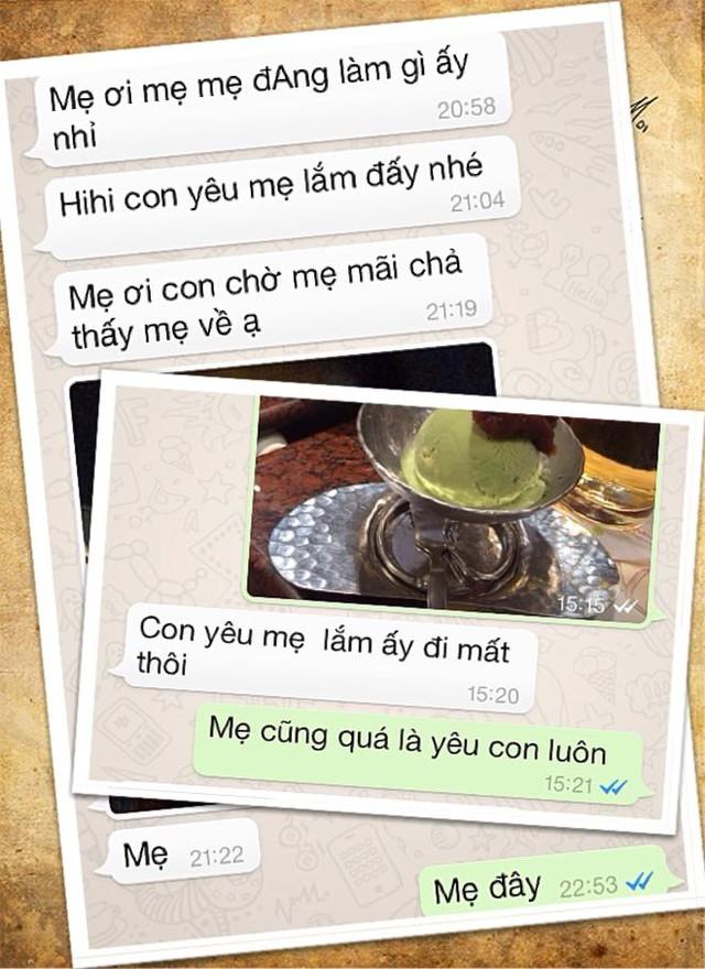 Những tin nhắn có cánh ngập tràn yêu thương của cô bé 5 tuổi gửi cho mẹ. Nguồn: Facebook Đông Hà