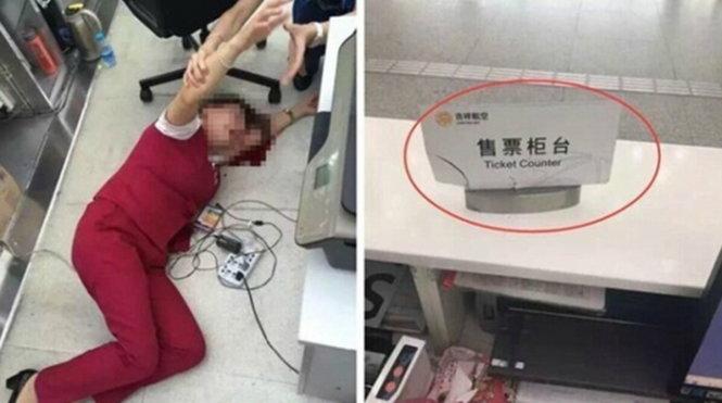 Nữ nhân viên hàng không nằm trên vũng máu sau khi bị nam hành khách đập vào đầu - Ảnh: shanghaiist.com