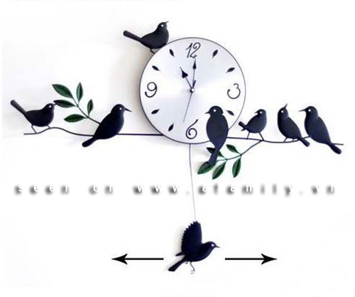 Đồng hồ có... chim bay lượn thật sinh động